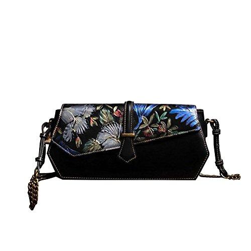 Sac à main femme en cuir véritable Leathario épaule classique été vintage élégant peint noir luxueux