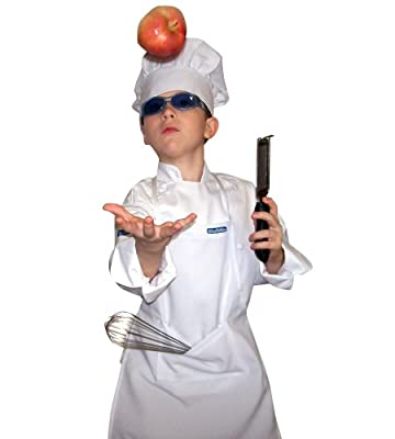 Chefskin Kids Children Set 1 Chef Jacket +Hat + Apron Chefs White