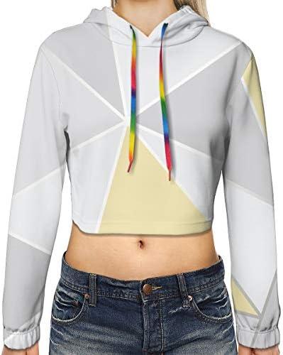 スポーツジムオフィススクール用の幾何学的なイエローグレーの女性のプリント長袖クロップトップスウェットパーカー