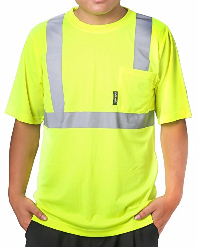 Shinefar reflective T Shirt safety short sleeve , ANSI class2, heat strip with pocket, Lime, Size: XXL