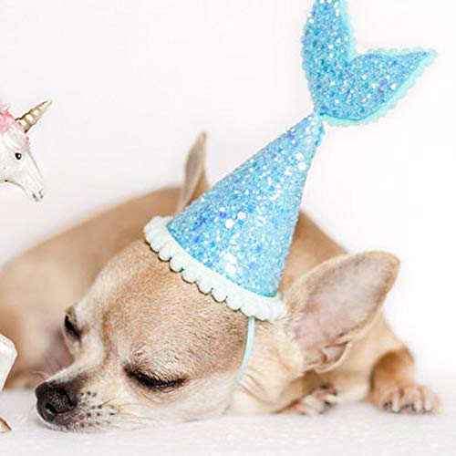 Glumes Pet Cute Birthday Party Cone Mermaid Hat with Adjustable Headband and Mermaid Topper for Kitten Puppy Small Dogs Cats Pets ()