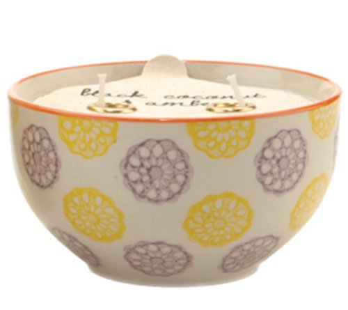 Paddywax Candles Boheme Collection Candle in Hand Painted Ceramic Bowl, 7-Ounce, Green Fig and Violet