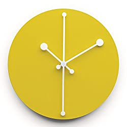 Alessi Steel Coloured with Epoxy Resin Dotty Wall Clock, Yellow