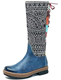 Women's Retro Carving Pattern Leather Knee High Boots...