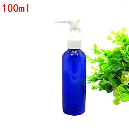 100ml Refillable Blue Plastic Travel Bottles Lotion Dispenser Bottle Jars Set with Pump Tops for Makeup Cosmetic Bath Shower Toiletries Liquid Containers Portable Travel Kit Accessories Pack of (Spray 100 Ml Lotion)