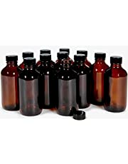 Vivaplex, 12, Amber, 4 oz Glass Bottles, with Lids
