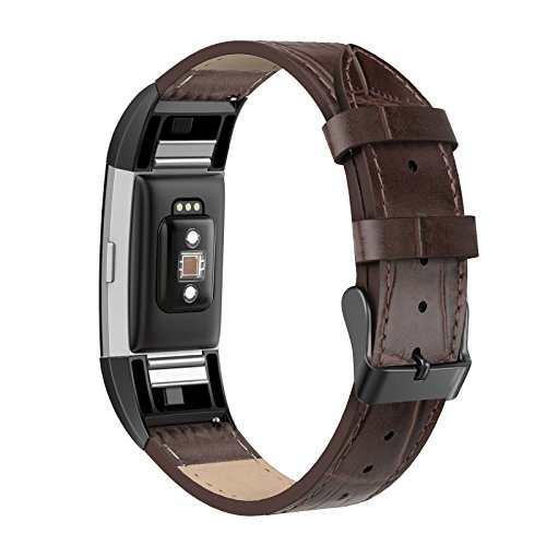 SWEES Leather Bands Compatible Fitbit Charge 2, Genuine Leather Replacement Large (6.4 - 8.3) Wristband Women Men, Black, Coffee Brown, Blue, Resin Brown, Dark Brown