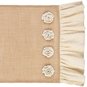54 Burlap Table Runner with Mini pinkttes and Natural Cotton Ruffle