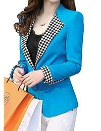 GRMO Women One Button Polka Dot Print Long Sleeve Notched Lapel Blazer Jacket