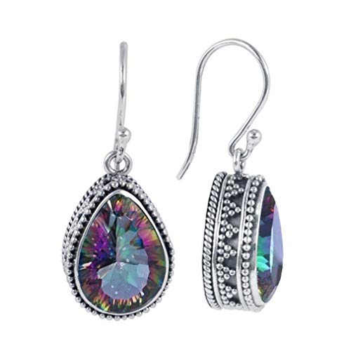 (Eightgo Retro Water Droplets Shape Rainbow Color Gemstone Drop Dangle Earrings Jewelry Gift for Women)