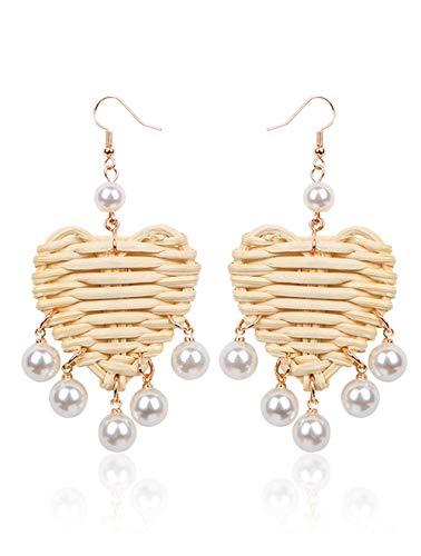 - Miweel Rattan Shell Drop Earrings Woven Handmade Straw Circle Hoop Earrings Hammered Disc Stud Wicker Bohemian Lightweight Earrings for Women Girls