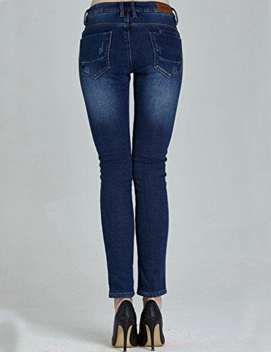 Camii Mia Jeans de Invierno Franela Slim Fit para Mujer Blue 3