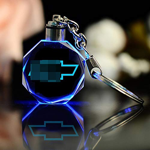 - monochef Auto Sport Stylish Creative LED Crystal Keychain Color Changing Light Keyring Decor Pendant with Car Logo for Car Accessory (fit Ch-evrolet)
