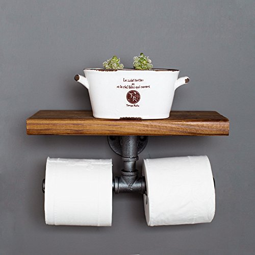 Industrial Toilet Paper Holder with Wooden Shelf or Stainless steel,Toilet Tissue Roll Holder,Rustic Style Water Pipe Wall Mounted,Fashion Display Shelves With Instructions (Paper Towel Holders 02) by Non-Branded (Image #4)