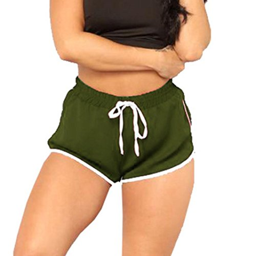 Shorts for Womens, FORUU High Waist Yoga Gym Bandage Elastic Casual Short Pants (XL, Army-Green)