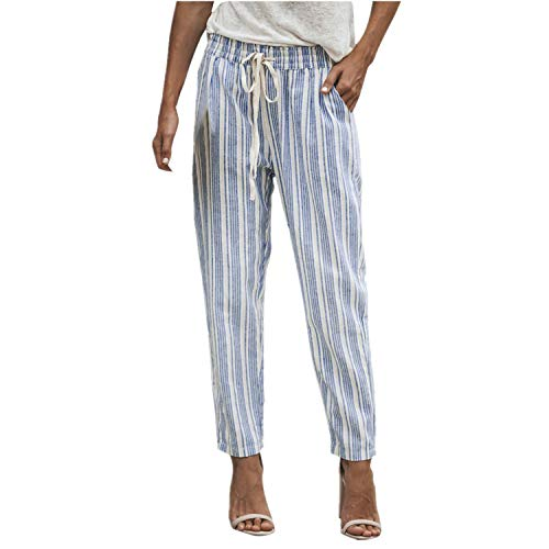 (Clearance Sale! Women Pants,Farjing Women Striped Printed Drawstring Elastic Long Pants Stripped Pencil Trousers(XL,Blue ) )