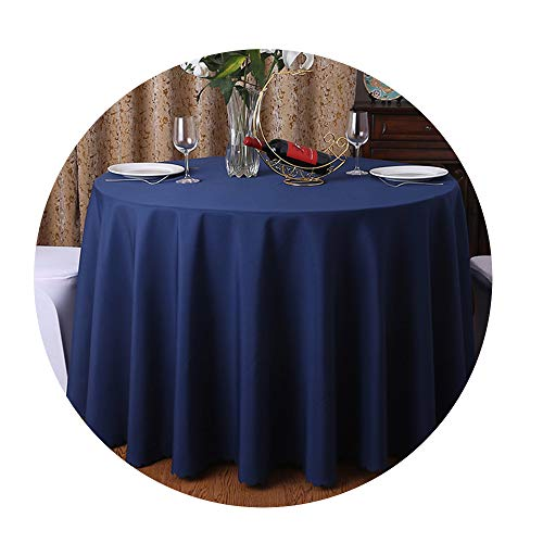 COOCOl 1Pc Washable Wedding Tablecloth for Round Fable Party Banquet Dining Table Cover Decor,Navy Blue,300Cm Round]()