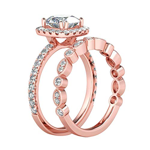 Guidance Rose Gold Bridal Set Lady Rings Coffee Cubic Zirconia Rhodium Rose Gold Plated Round Shape Ring Jewelry Size 6 7 8 9 10 (10)