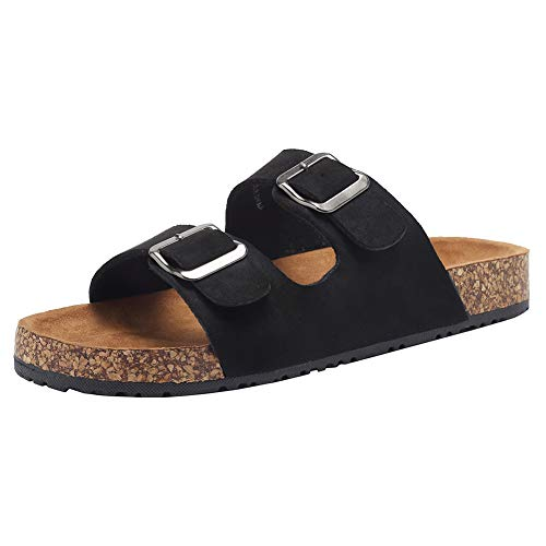 Women Arizona 2-3 Strap Adjustable Buckle Platform Sandals Flat Casual Cork Slide Footbed Sandal for Women/Ladies/Girls Indoor/Outdoor DNDTX03,Black,39