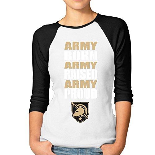 EVALY Women's Best Army West Point Born Raised Proud 3/4-Sleeve Raglan Tshirt