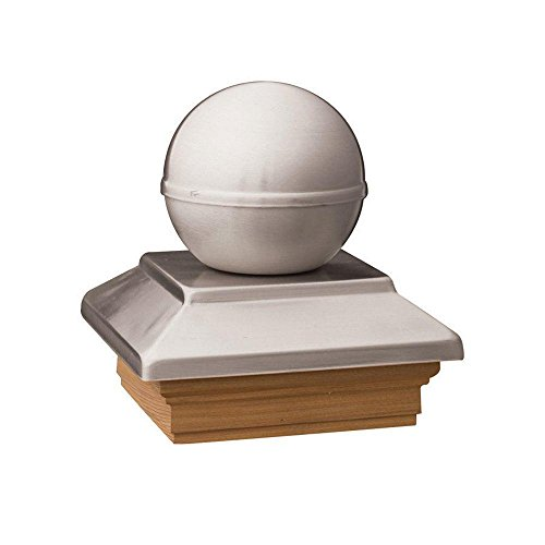 Pressure-Treated 4 in. x 4 in. Pine Polished Stainless Ball Top Post (Newel Ball Top)