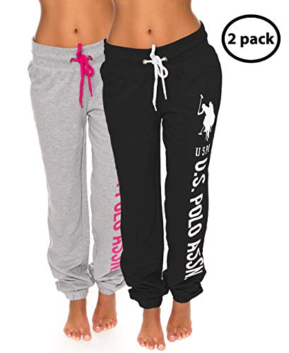 U.S. Polo Assn. Womens 2 Pack Printed French Terry Boyfriend Jogger Sweatpants Black/Heather Grey X-Large