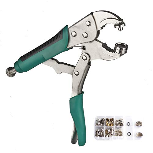 DianMan Heavy-Duty Snap Fastener Pliers (Adjustable Setter, 2 Interchangeable Dies) Snap Installation Set Hand Tools for Fastening, Replacing Metal Snaps, Repairing Boat Covers, Canvas (Green)