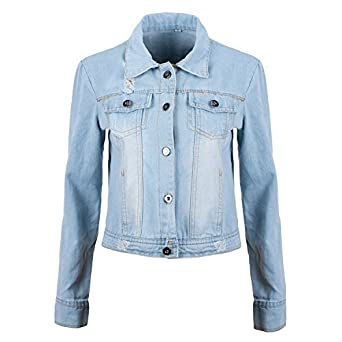 Ladies Denim Jacket Women's Jean Jackets Ladies Blue Coat (L ...