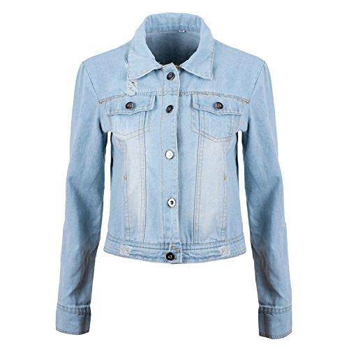 Ladies Denim Jacket Women's Jean Jackets Ladies Blue Coat (L ...