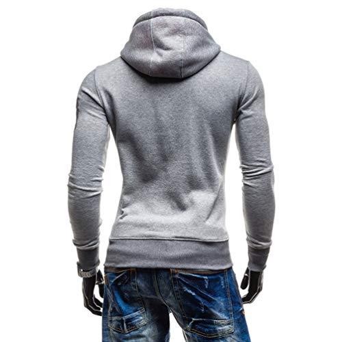 Manches Automne Chaud Pullover Sweats Hoodies Poche Baijiaye Casual Clair5 Longues Capuche Hommes Avec Pulls Long Gris Uni À Hiver xBn44Zv