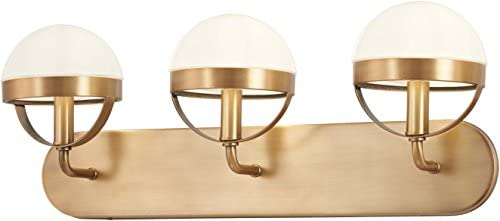 Minka Lavery Wall Light Fixtures 4593-575 Tannehill Bath Vanity Lighting, 3-Light 120 Watts, Antique Noble Brass