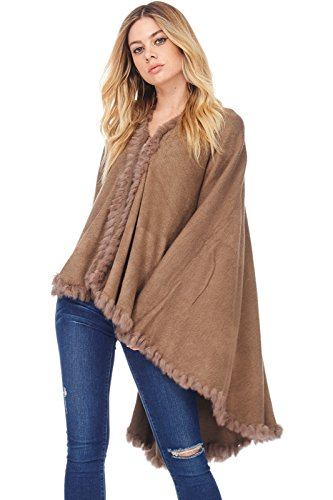 A+D Womens Casual Faux Fur Cape Poncho Shawl Sweater Coat (Camel, One Size)