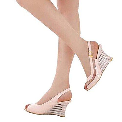 Mode Häl Hög Kilklack Peep Toe Slingback Patent Sexig Sommar Sandaler Rosa