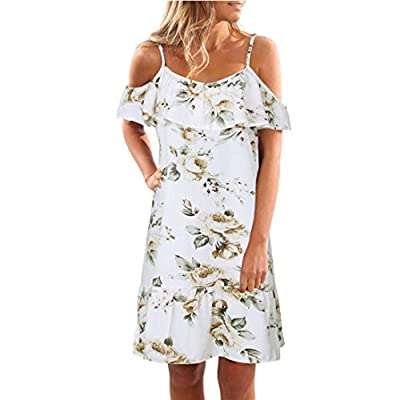 Kingfansion Women Summer Floral Ruffles Dress Off Shoulder Mini Dress Beach Party Dress