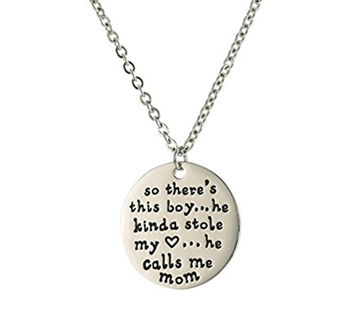 LAOFU 925 Sterling Silver Personalized Necklace Pendant for Mother and Son - Hand Stamped Quote Words Dog Tag Necklace for Family and Friends