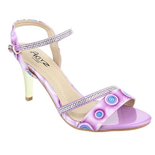 Aarz señoras de las mujeres de la tarde de la boda de tacón Sandalias Fiesta fin de curso nupcial zapatos Tamaño (gris, púrpura, beige) Púrpura