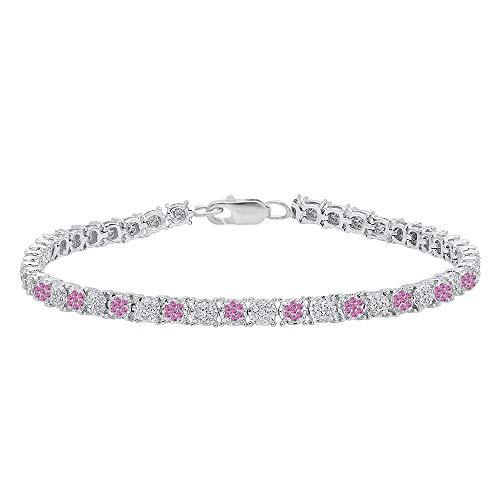 (Dazzlingrock Collection Round Pink Sapphire & White Diamond Ladies Cluster Tennis Link Bracelet, Sterling Silver)