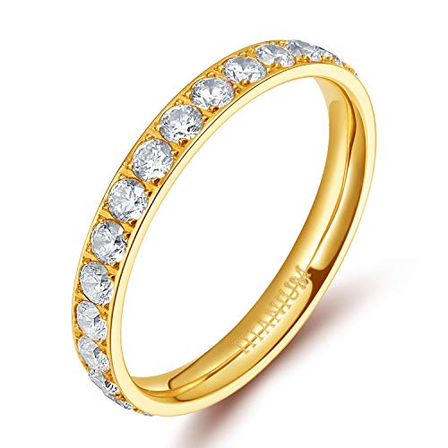 TIGRADE 3mm Women Titanium Engagement Ring Cubic Zirconia Eternity Wedding Band (Gold, 9.5) -