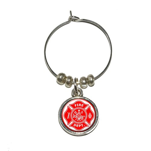 Firefighter Firemen Maltese Cross - Red Wine Glass Charm Drink Stem Marker Ring
