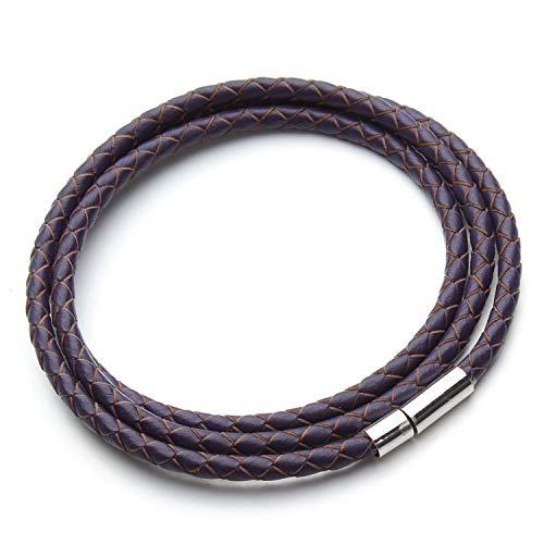 Braided Leather Bracelet Men Women Magnetic Clasps Charm Bracelets Pulseras Male Female Jewelry Purple -