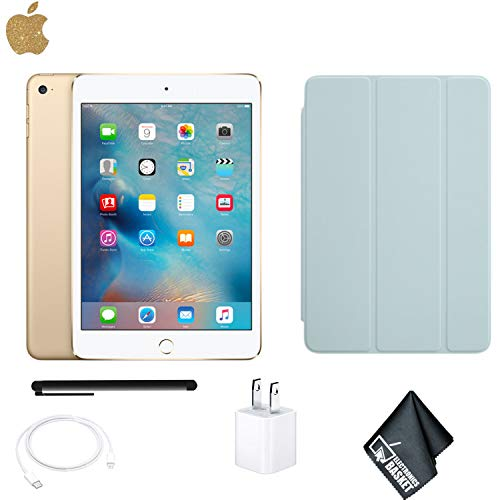 Apple iPad Mini 4 128GB Tablet 7.9 Inch (Wi-Fi, Gold) MK9Q2LL/A - Bundle with Turquoise ipad Mini 4 Case + More