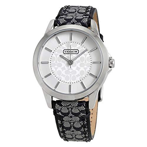 COACH Women's Classic Signature Strap Watch Silver/Black One Size ()