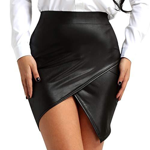 FEESHOW Women's Faux Leather Asymmetric Short Mini Skirt Night Club Bodycon Tight Pencil Dress Black Medium
