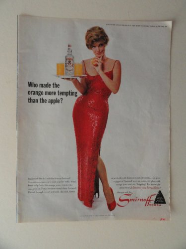 Apple Smirnoff (smirnoff Vodka. 1964 full page print advertisement.(woman,red dress/who made the orange more tempting than the apple.) original vintage magazine Print Art.)