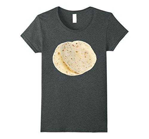 Easy Homemade Food Costumes (Womens Flour Tortillas Shirt, Food Foodie Halloween Costume Gift Medium Dark Heather)