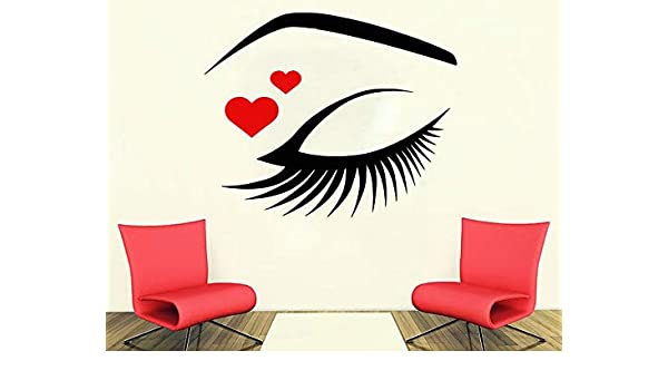zaosan Eyelish with Red Heart Tatuajes de Pared Pestañas de Ojos ...