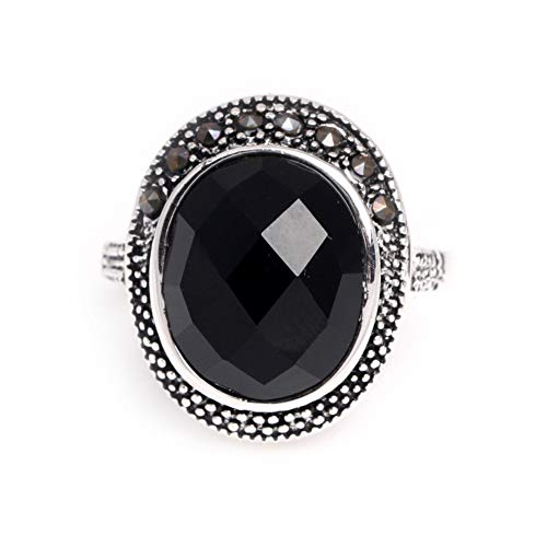 12x14mm Oval Faceted Black Agate Beads Tibetan Silver Base Marcasite Ring 17x21mm Send By Random ()