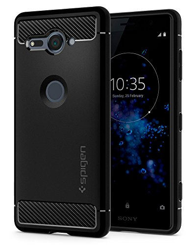 Spigen Rugged Armor Xperia XZ2 Compact Case with Flexible and Durable Shock Absorption with Carbon Fiber Design for Sony Xperia XZ2 Compact (2018) - Black