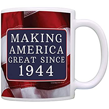 75th Birthday Gifts Making America Great Since 1944 Funny Party Supplies Gag Gift Coffee Mug Tea Cup USA Flag