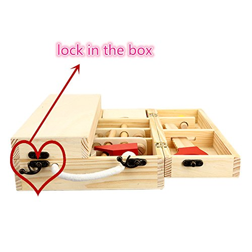 Kids Portable Building Tool Kit Wooden Classic Construction